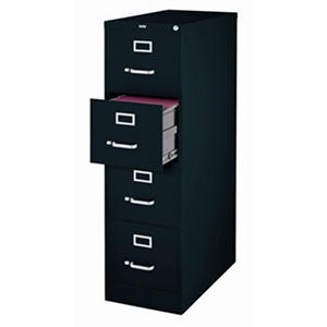 Hirsh 4-Drawer Locking File Cabinet - Black