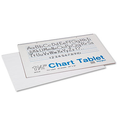 Pacon Chart Tablets w/Manuscript Cover, Ruled, 24 x 16, White, 25 Sheets per Pad