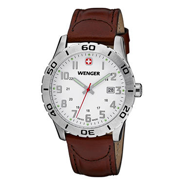 Wenger Grenadier - White Dial with Brown Leather Strap