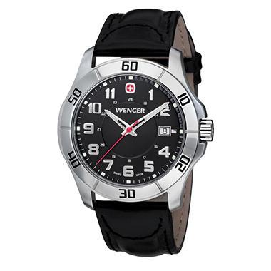 Wenger Swiss Military Alpine Black Leather Strap
