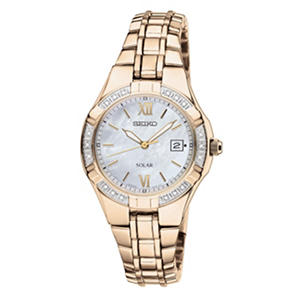 Seiko Ladies Solar-Powered Gold-Tone Diamond Watch
