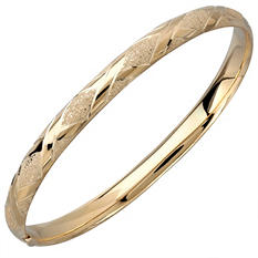 "7.25"" Bangle in 14K Yellow Gold w/ Laser X Design"