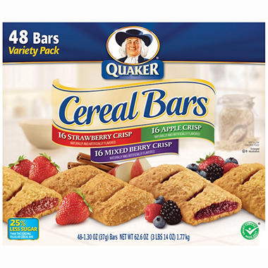 Quaker Cereal Bars Variety Pack - 48/1.3oz