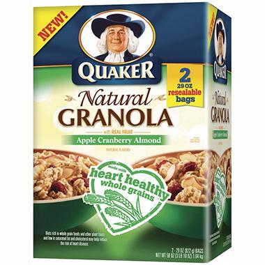 Quaker® Natural Apple Cranberry Almond Granola - 2/29 oz.