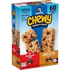 Quaker Chewy Granola Bars, Variety Pack, (60 ct.)
