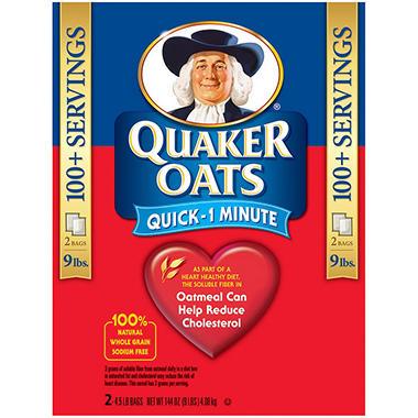Quaker Oats Quick 1 Minute Oatmeal - 4.5 lb. - 2 pk.