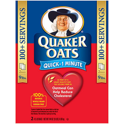Quaker Oats Quick 1 Minute Oatmeal - 4.5 lb. - 2 pk.