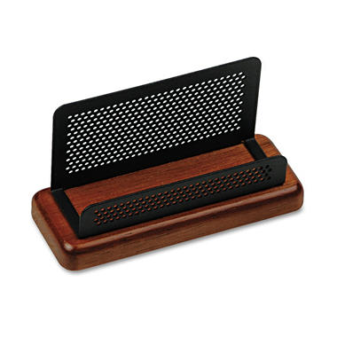 Eldon Distinctions Wood/Metal Bus. Card Holder