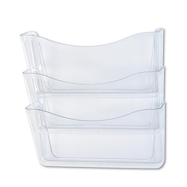 Rubbermaid - Unbreakable Three Pocket Wall File Set, Letter - Clear