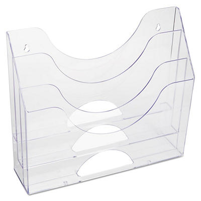 "Rubbermaid 3 Pocket File Folder Organizer, Plastic, 13"" x 3 1/2"" x 11 1/2"" - Clear"