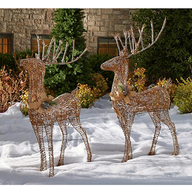 2 pc 5 Sugared Grapevine Outdoor Deer Pair Sams Club