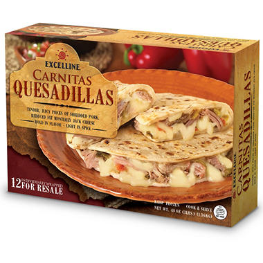 Excelline Carnitas Quesadilla - Shredded Pork & Cheese - 12 ct.