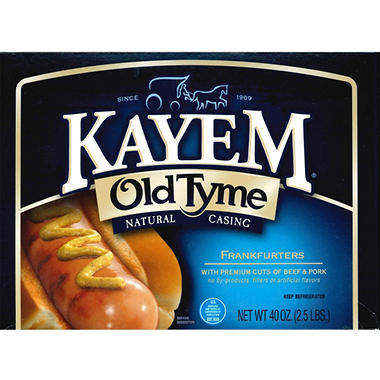 Kayem Old Tyme Natural Casing Frankfurters - 2.5 lbs.