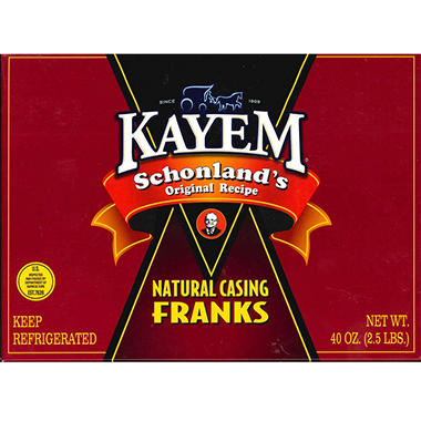 Kayem Schonland's Natural Casing Franks - 2.5 lbs.