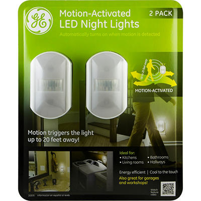 GE Motion-Sensing LED Night Lights with Chrome Finish (2 Pack)