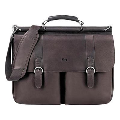 """SOLO - Classic 16"""" Leather Briefcase, 16-1/2 x 5 x 13 -  Espresso"""