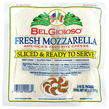 BelGioioso Pre-Sliced Mozzarella - Twin Pack - 2 lbs.