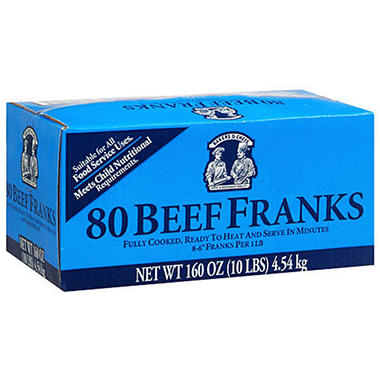 Bakers & Chefs Beef Franks - 160 oz. box