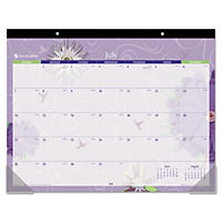 AT-A-GLANCE Paper Flowers Desk Pad, 22 x 17, 2017