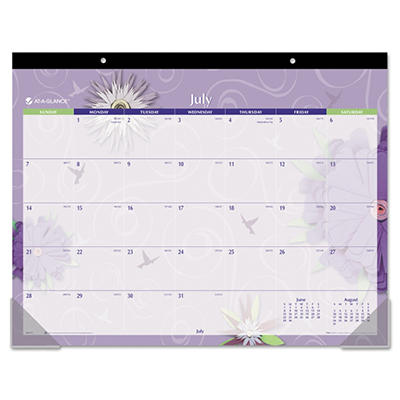 AT-A-GLANCE - Flowers Desk Pad, 22 x 17 -  2015