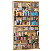 A media organizational and storage wall unit that keeps pace with your media collecting passion. If you're a serious media collector who's totally outgrown all your previous media towers, storage racks and multi-media storage cabinets, Atlantic's Oskar 1080 Media Storage Wall Unit is your ideal media organization and storage solution. This expansive, multi-purpose media storage wall unit enables you to get rid of all your other random media storage units and combine your entire collection into one. Organize and store your enormous dvd/blu-ray disc and CD collection in one place, instead of spreading storage units throughout your home. This massive media storage capacity comes packaged in a minimalist, space-saving design with a striking esp