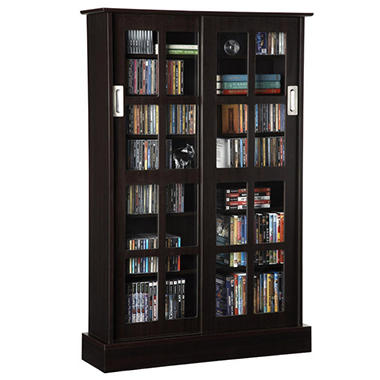 Atlantic Windowpane 576 CD Media Cabinet - Espresso