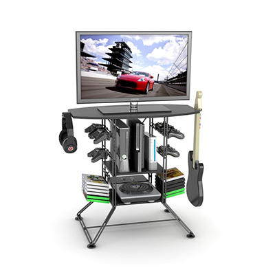 Centipede Game Storage and TV Stand with Black Carbon Fiber Top and Black Steel