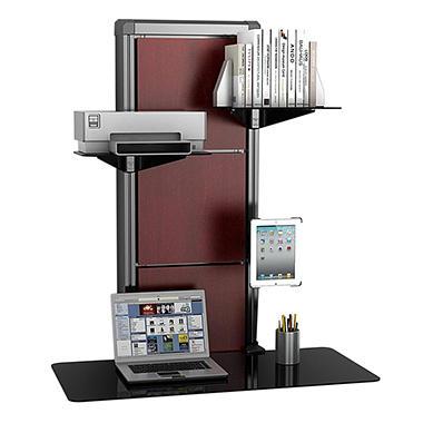 Atlantic - Evo Wall Mount Desk - Black with Walnut Cherry Wood Accents