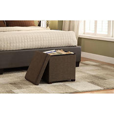 "Storage Ottoman 17"" X 17"" With Wooden Feet - Brown"