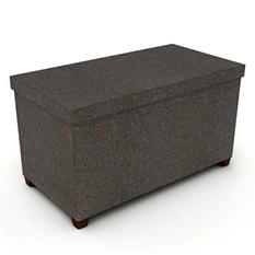 "Storage Ottoman 17"" X 34"" With Wooden Feet - Brown"