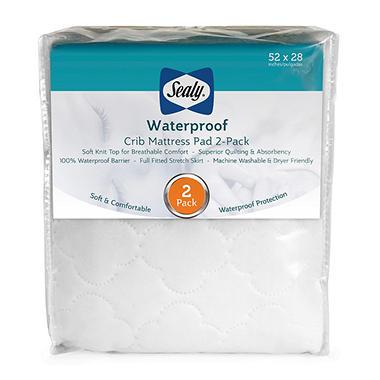 Sealy Waterproof Crib Mattress Pad 2 Pack Sam S Club