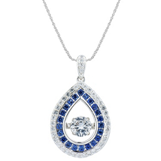 Lab White and Blue Sapphire Dancing Pendant