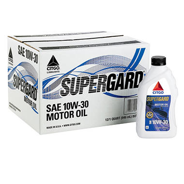 Citgo Supergard 10w30 Motor Oil 1 Quart Bottles 12