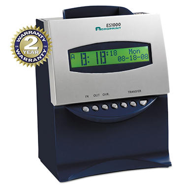 Acroprint ES1000 Totalizing Digital Automatic Payroll Recorder/Time Clock - Blue and Silver