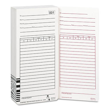 Acroprint Totalizing Payroll Recorder Time Cards