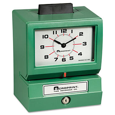 Manual model 125 time recorder,month/date/0-23 hrs