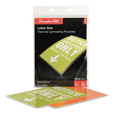 Swingline GBC - Laminating Pouches, 3 mil, 9 x 11 1/2 -  25/Pack