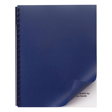 Swingline GBC - Opaque Plastic Presentation Binding System Covers, 11 x 8-1/2, Navy -  50/Pack