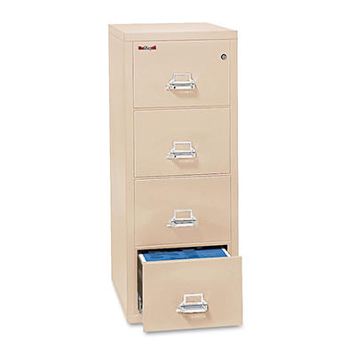 "FireKing - 41831C Insulated Vertical File Cabinet, 31-9/16"", 4 Drawer - Parchment"