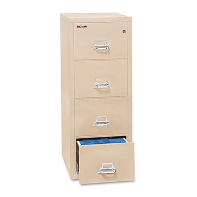 "FireKing - 42131C Insulated Vertical File Cabinet, Legal, 31-9/16"", 4 Drawer - Parchment"
