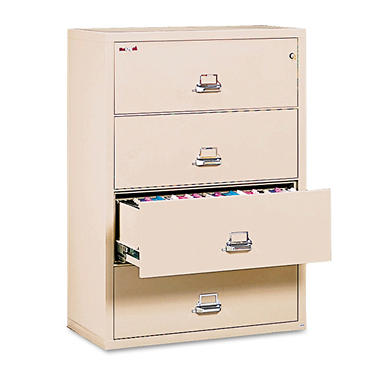 FireKing - Lateral File Cabinet, 4-Drawer, Letter/Legal, 37-1/2