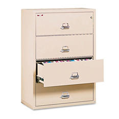 "FireKing - Lateral File Cabinet, 4-Drawer, Letter/Legal, 37-1/2"" Width - Parchment"