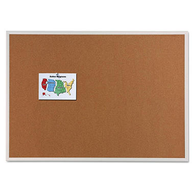 "Quartet Cork Bulletin Board, Natural Cork/Fiberboard, 96"" x 48"", Aluminum Frame"