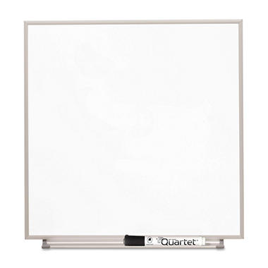 "Quartet Magnetic Dry Erase Board - Painted Steel - Aluminum Frame - White - 16"" x 16"""
