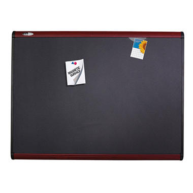 Quartet Prestige Plus Magnetic Fabric Bulletin Board, 36 x 24, Mahogany Frame