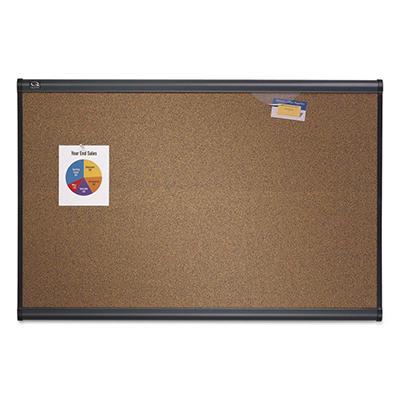 "Quartet - Prestige Bulletin Board Graphite-Blend Cork - Aluminum - 72"" x 48"""