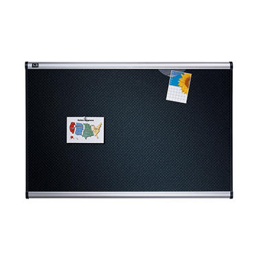 Quartet Prestige Embossed Bulletin Board, Hi-Density Foam, 72 x 48, Black, Aluminum Frame