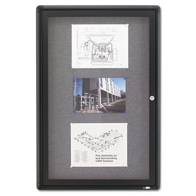 Quartet Enclosed Fabric Covered Cork Bulletin Board, 24 x 36, Gray, Aluminum Frame