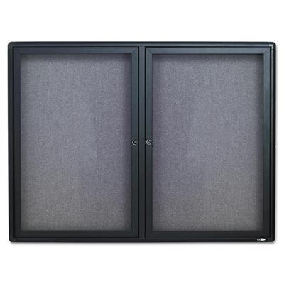 Enclosed Bulletin Board, Fabric Covered Cork, 48 x 36, Gray, Aluminum Frame