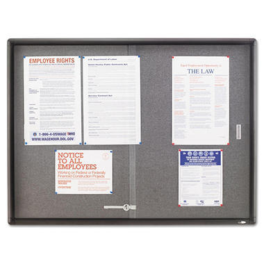Quartet - Enclosed Bulletin Board, Fabric/Cork/Glass, 48 x 36, Gray, Aluminum Frame